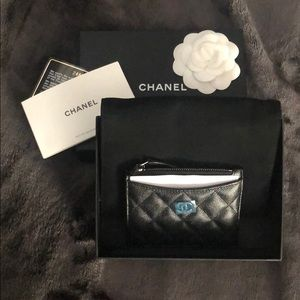 Authentic CHANEL Iridescent Black Card Holder
